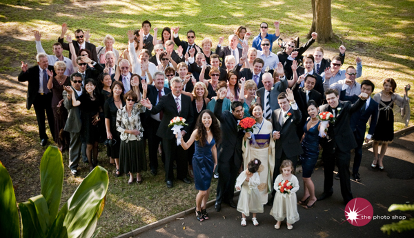 Luke and Yuko's guests at the Sydney Botanical Gardens
